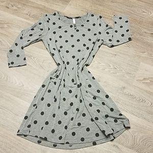Kenzie Grey w/ Black Polka Dot Knit Dress Size Med